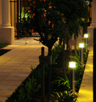 LED path lights along entry walkway on Adelaide, Australia home.