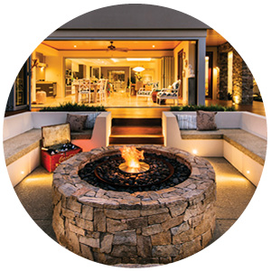 Built-in outdoor fire pit.